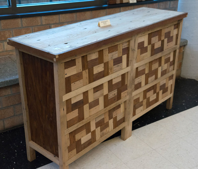 wood inlaid dresser
