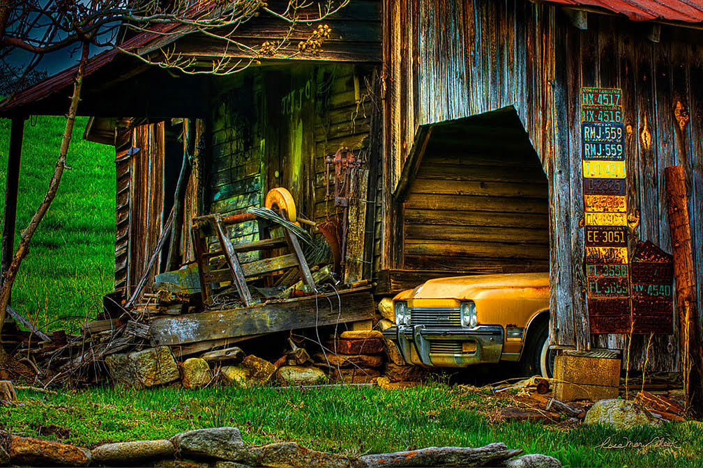 old barn, old car, old tools